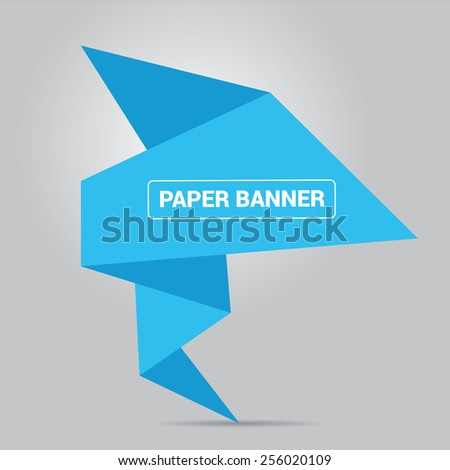 summer blue origami paper speech bubble or web banner .vector illustration - stock vector