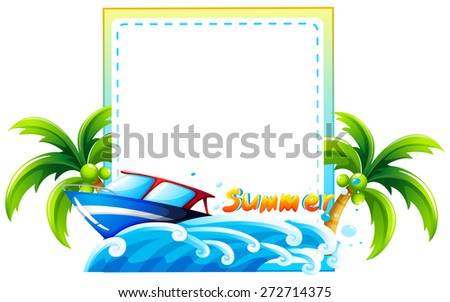 Summer boat beach scene template