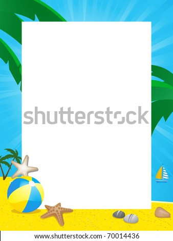 Summer Border With Beach Ball Starfish Palm Trees And Boat On A Sandy