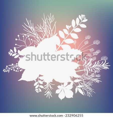 Summer branch with fresh leaves - stock vector