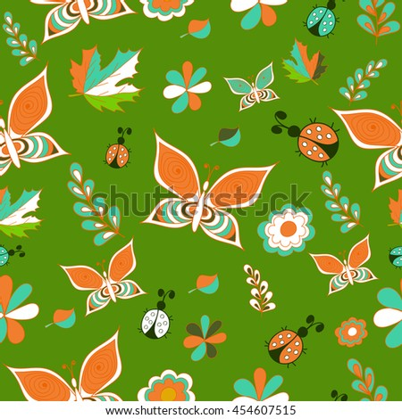 Summer bright green vector, seamless patterns. Repeating texture. - stock vector