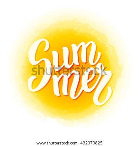 "Summer brush lettering text.Hand written word ""Summer"". For posters, t shirts, prints, bags, pillows, home decorations. Vector illustration"