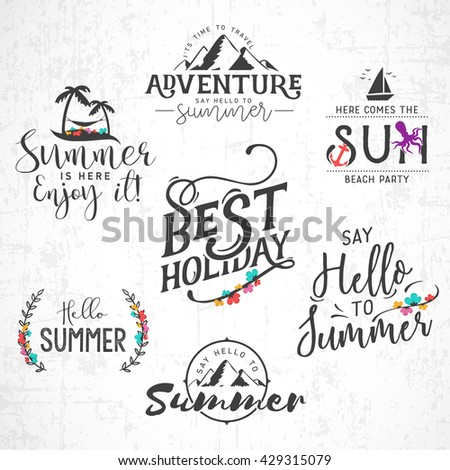 Summer Calligraphic Designs in Vintage Style with Floral Ornaments - stock vector
