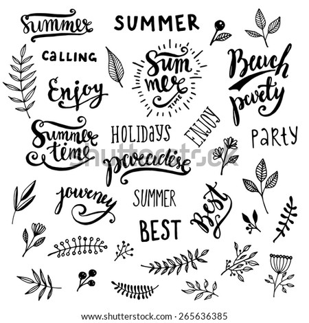 Summer Calligraphic Designs Set with Flowers, Floral Ornaments, Labels and Leaves. Retro Hand Drawn Elements for Summer Holidays Posters, Banners and Flyers. Paradise, Beach Party, Adventure Time - stock vector