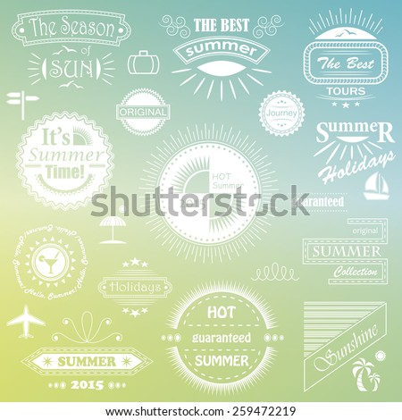 Summer calligraphic designs.  Vintage ornaments. Vector set of summer labels       - stock vector