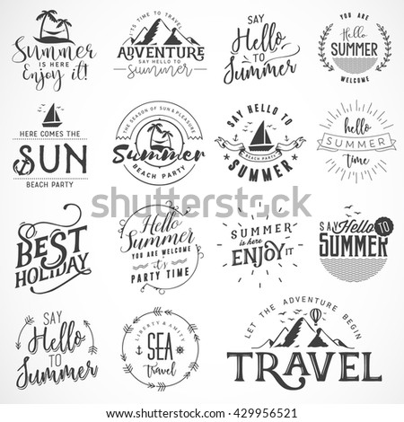 Summer Calligraphic Travel  Designs. Beach and Mountains Badges - stock vector