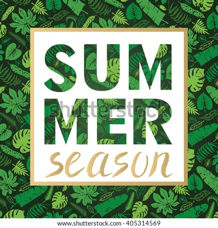 Summer calligraphic.Tropical palm leaves pattern in letters summer shape.Party poster .Vector Green leaf Silhouette,background. - stock vector