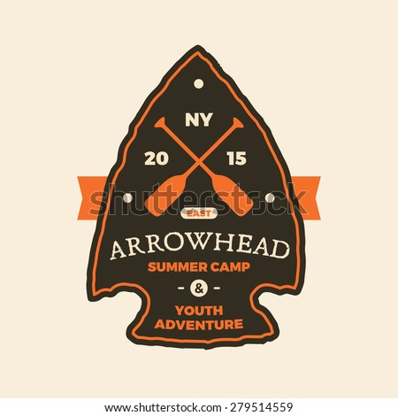 Summer camp arrowhead sign emblem logo graphic - stock vector