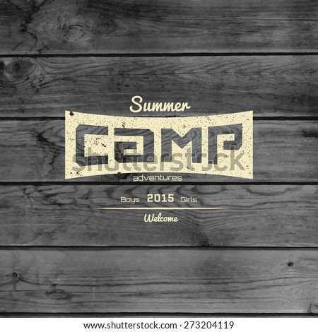 Summer camp badges logos and labels for any use. On wooden background texture. EPS10 - stock vector