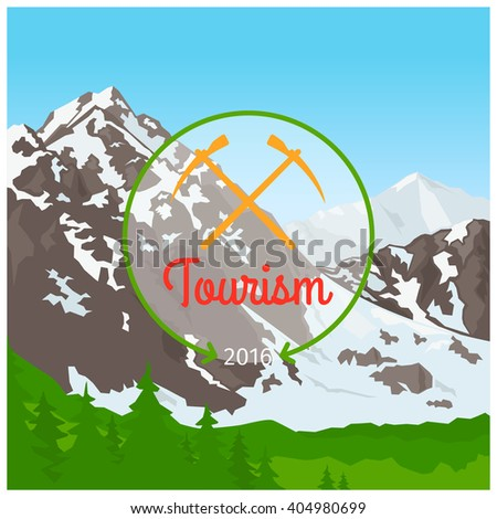 Summer camp concept with mountain nature landscape vector illustration