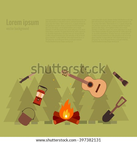 Summer camp fire. Vector illustration of camping  fire concept. Poster with Summer camp fire made in flat style. Summer camp icons set: backpack, axe, flashlight. Summer camping fire background. - stock vector