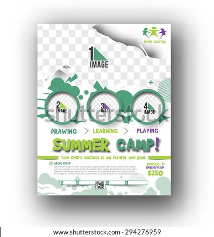 Summer Camp Flyer & Poster Template - stock vector