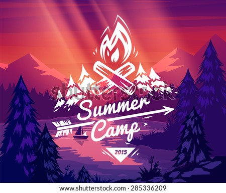 Summer camp landscape. Vector design illustration for web design development, natural landscape graphics.