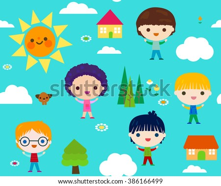 summer camp seamless pattern with happy little kids  - stock vector