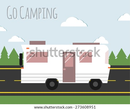 Summer camp travel poster. Motorhome on the road. Outdoor activity and vacation banner. Vector illustration. - stock vector