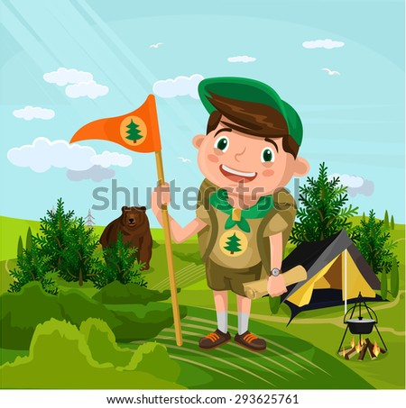 Summer camp with boy. Vector flat cartoon illustration - stock vector