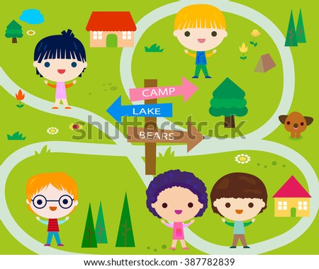 summer camp with happy little kids  - stock vector