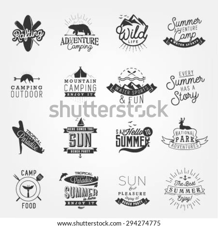 Summer Camping and Beach Design Elements, Badges and Labels in Vintage Style - stock vector