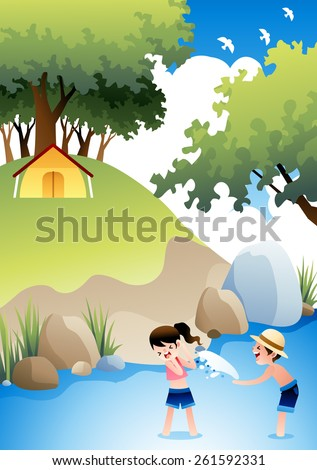 Summer Camping and Cheerful Children - lovely girl and cute boy playing and enjoy fun in the water on a background with bright blue sky and beautiful green grass park : vector illustration - stock vector