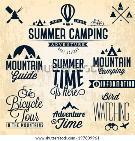 Summer Camping Vector Calligraphy Design Elements in Vintage style - stock vector