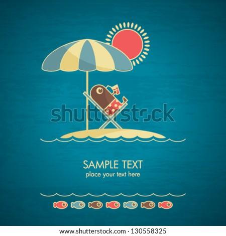 summer card - stock vector