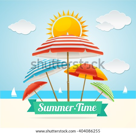 Summer Card with Beach Umbrella. Concept of Holiday by Sea. Vector illustration - stock vector
