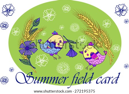 Summer card with birds and flowers in the field vector illustration - stock vector