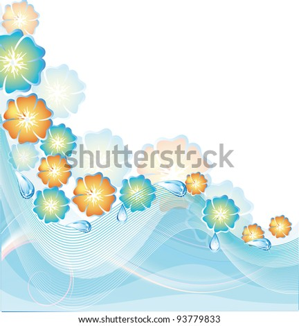 Summer card with blue and orange colors - stock vector