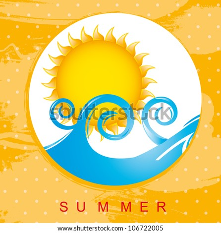 summer card with sea and sun. vector illustration
