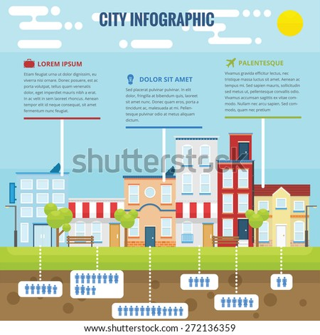 Summer city infographic with flat design and bright color - stock vector