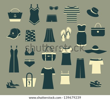 Summer Clothes and Accessories - Set of black and white simple clothing icons, including evening dresses, T-shirts, swimsuits, hats, shoes and tote bags - stock vector
