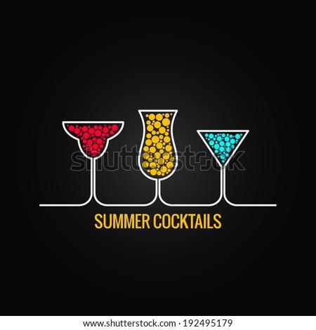 summer cocktails design menu background - stock vector