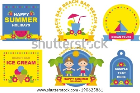 summer collection stickers and tags  for scrapbook - stock vector