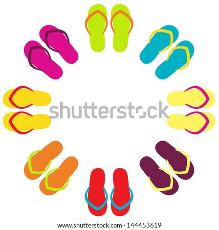 Summer colorful flipflops in circle isolated on white - stock vector