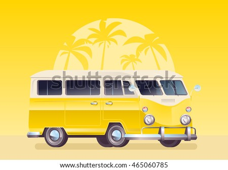 Summer colorful illustration. Camper van, wagon, truck. Summer vacation. Travel van on yellow background