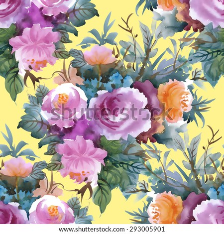Summer Colorful roses floral watercolor Seamless pattern on yellow background vector illustration - stock vector