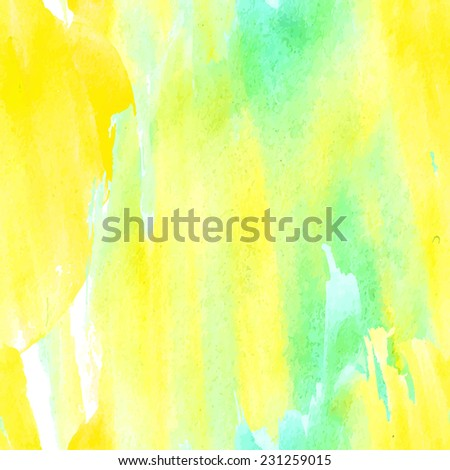 Summer colors watercolor painting seamless background pattern for kids. Vector illustration. - stock vector