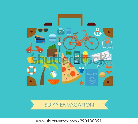 Summer concept. Flat icons arrange in the form of case. Vector illustration. Planning a summer vacation, travelling on holiday journey, tourism and travel objects, passenger luggage.  - stock vector