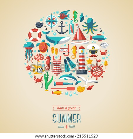 Summer concept. Flat icons in circle. Vector illustration. Marine symbols. Sea leisure sport. - stock vector