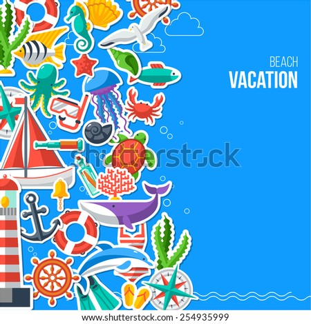 Summer Concept with Flat Icons. Vector illustration. Marine Symbols. Sea Leisure Sport. Summer Beach Recreation Banner or Flyer. Diving and Yachting. - stock vector