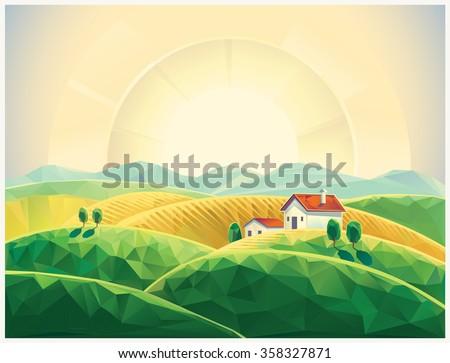 Summer countryside landscape with village. Sunrise. Polygonal illustration. - stock vector