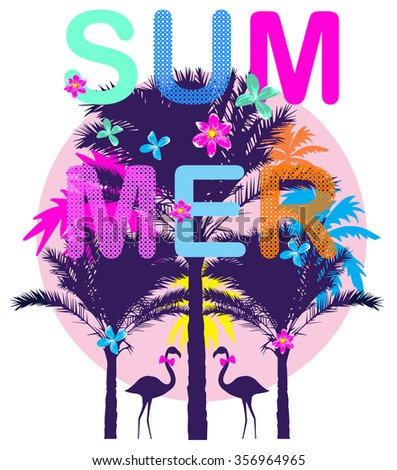 Summer day background with palm tree. Minimalistic multifunctional media backdrop. Vector. Editable. Summer dreams  - stock vector