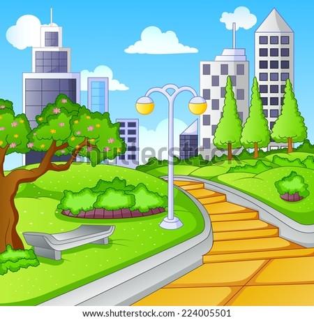 Summer day in public city park - stock vector