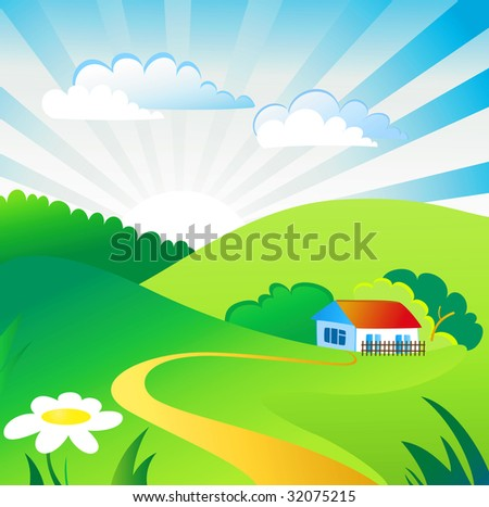 Summer day landscape - stock vector