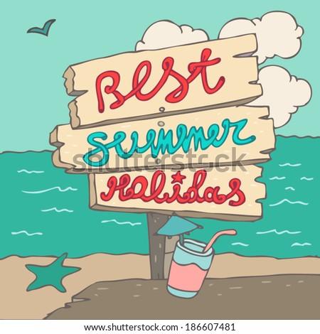 summer day on the beach  vector illustration, hand drawn - stock vector