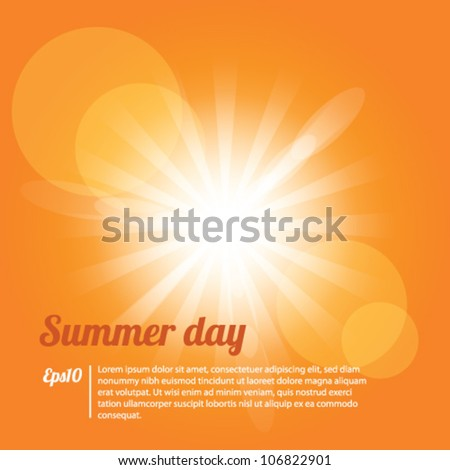 Summer Day Yellow Background Vector - stock vector