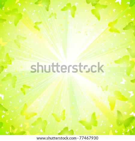 Summer decorative composition with butterflies - stock vector