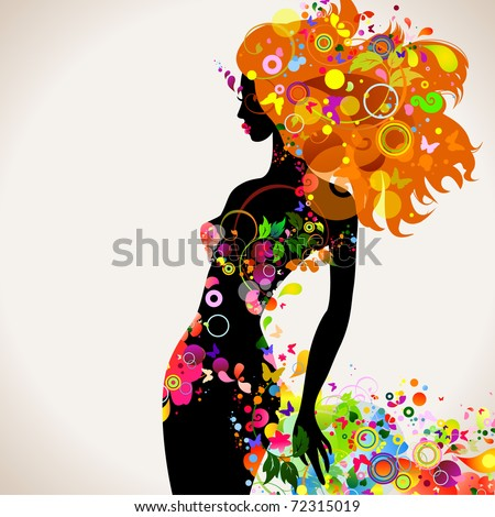 Summer decorative composition with girl - stock vector
