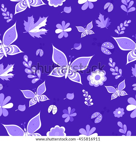 Summer delicate blue vector seamless patterns. Repeating texture - stock vector