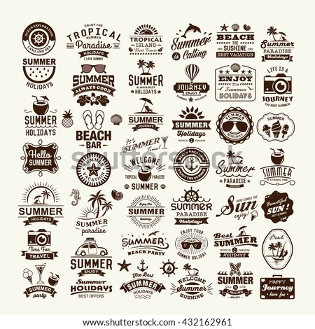 Summer design and typography design with labels, posters, logos and icons elements set. - stock vector